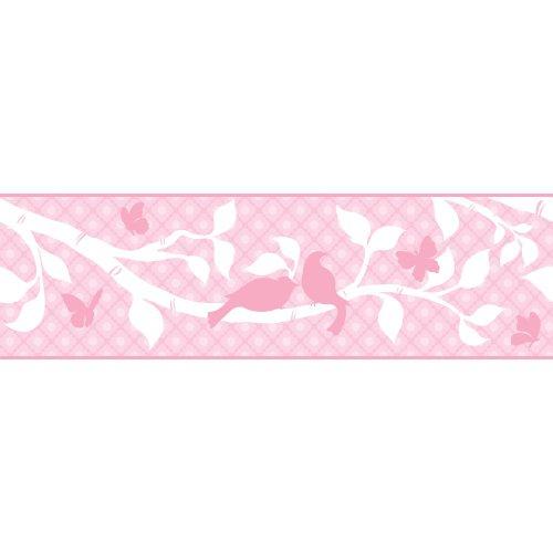 York Wallcoverings Peek-A-Boo - Cenefa para jardín, Muestra, blanco, rosado, (powder pink/hint of lavender pink/medium...