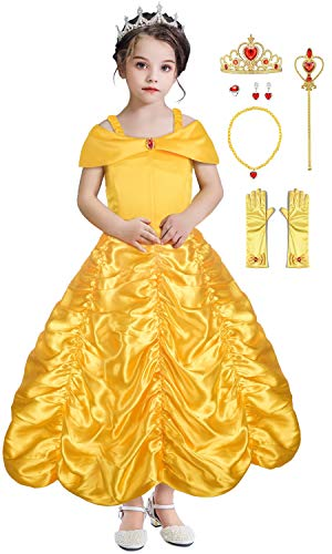 Almce Princess Dress Belle Costume - Layered Off Shoulder Birthday Party Fancy Dress for Little Girls