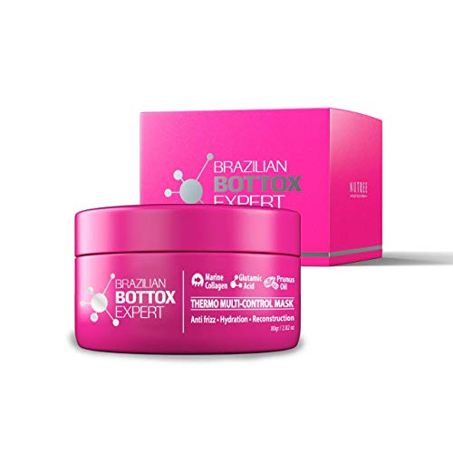 Brazilian Thermal Hair Mask 2.82 oz - Bottox Treatment for Dry & Damaged Hair - Intensive Deep Repair - Nourishing Hydrating Hair Care Complex with Marine Collagen (Brazilian (Pink) 2.82 oz)