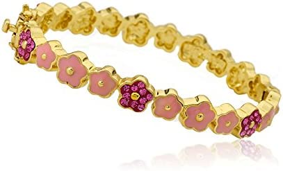 Molly Glitz Flowery Glitz 14k Gold-Plated Pink Cut Out Flower Bangle With Hot Pink Crystal Flowers