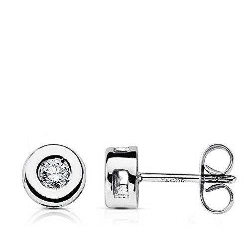 Boucled'oreille 18k or blanc 6mm mousseux diamant 0.160ct. [AA1809]