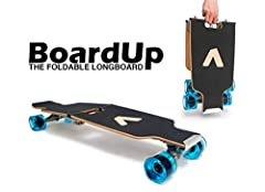 BoardUp offers the longboarding experience at half the size. Its patented self-locking hinge enables the board to stay locked while riding to keep from buckling. BoardUp only folds when the kick release pad on the nose of the board is engaged...