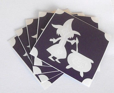 ld319 GLITTER TATTOO 5x stencil witch kettle HALLOWEEN glitter tattoo airbrush -
