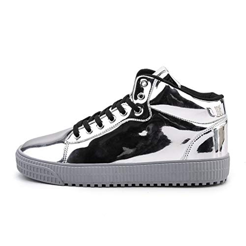 - Women Men Running Shoes Colorful Mirror Trend Sneakers Nightclubs Sequins High-Top Casual Shoes Silver