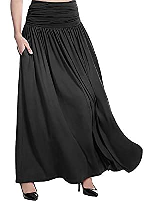 KLJR-Women Loose Solid-Colored Comfy Leisure Plus-Size Long Skirts