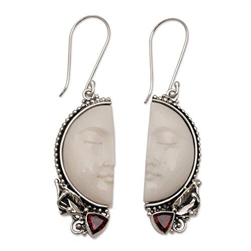 NOVICA Garnet .925 Sterling Silver Cow Bone Dangle Earrings, Half of My Soul'
