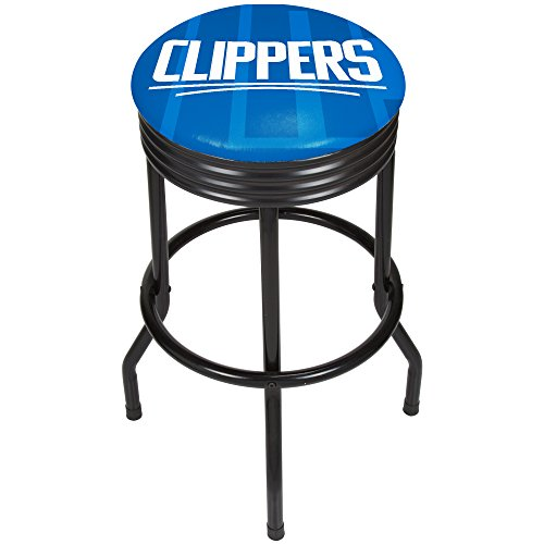 - Trademark Gameroom NBA1006-LAC2 NBA Black Ribbed bar Stool - Fade - Los Angeles Clippers