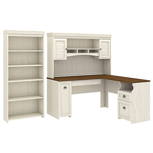 Bush Furniture Fairview L Shaped Desk with Hutch and 5 Shelf Bookcase in Antique White
