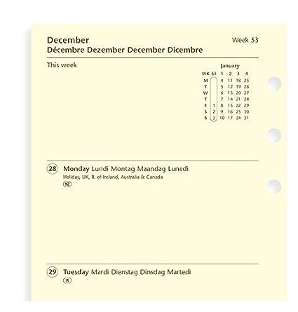 Filofax - Recambio de calendario semanal en dos páginas con ...