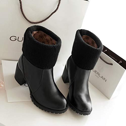 Para Zapatos Black Algodón Botines Calzado Tejer Invierno Nieve Mujer Plataforma wxdHqUvY