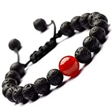 Colorful Bead Bracelets - 8mm Natural Lava Rock Stones Beads Bracelets, Men Stress Relief Yoga Beads Aromatherapy Essential Oil Diffuser Bracelets Anxiety Bracelet for Women (red Agate + Lava Rock)