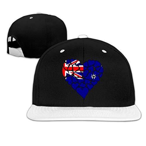 (Australia Flag Heart Love Women Men Hip Hop Flatbrim Baseball Caps, Adjustable Dad Hat)