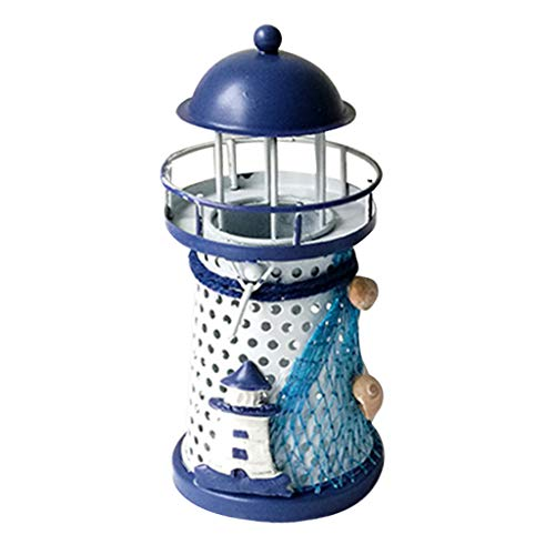 Gotian Mediterranean Lighthouse Iron Candle Candlestick Blue White Home Table Decor, Romantic Mediterranean Style Home Decor Ornament, a Great Gift for Friends (A) from Gotian_light