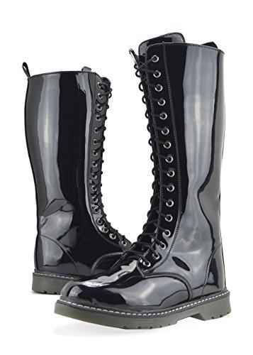Patentes de hasta para la con botas Negro cordones altas invierno mujer de de largas Botas rodilla zapatos CSa1ZHHn