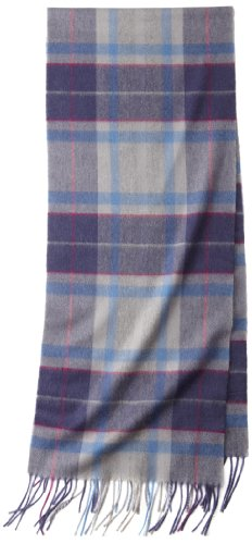 Amicale Women's 100% Cashmere Track Plaid Scarf