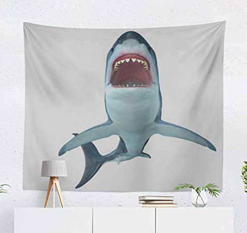 KJONG Shark Front Shark and Animal Animal Theme Aquatic Aquatic Shark Big Shark Big Decorative Tapestry,50X60 Inches Wall Hanging Tapestry for Bedroom Living Room ()