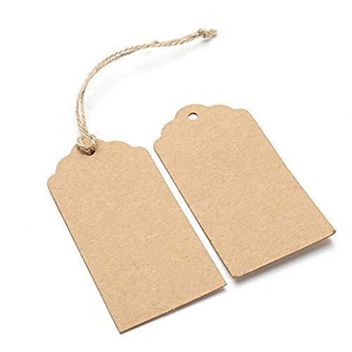 (❤Lemoning❤ 100PCS Kraft Paper Wedding Rectangle Craft Hang Tags 393 Feet Natural Jute Twine)