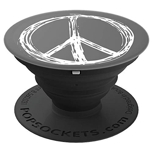 (Peace Sign on Grey - PopSockets Grip and Stand for Phones and Tablets)