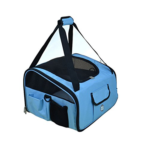 "Personalized pet car seat carrier for dogs &cats (16""Lx13""Wx10""H, sky - Pet Personalized Carrier"