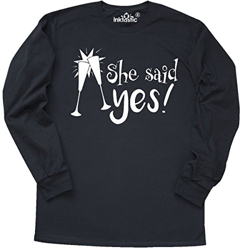 inktastic Said Yes! Bridal Party Long Sleeve T-Shirt Medium Black