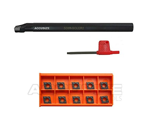 Accusize Industrial Tools 1'' by 12'' Rh Sclcr Indexable Boring Bar Plus 10 Pc Ccmt32.5 Carbide Black and Yellow Inserts, Cvd Coating, P252-S408ins