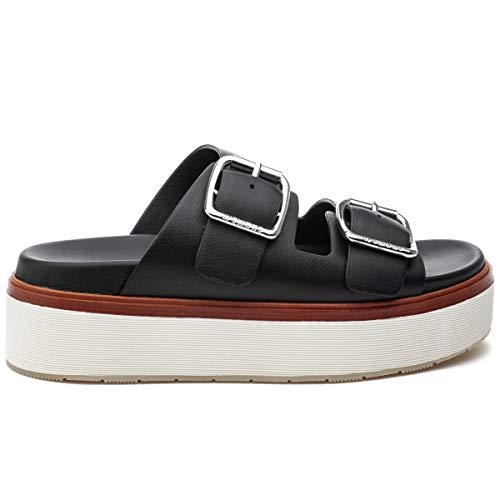 j/slides Women's Bowie Sandal Black Leather Size 9 ()