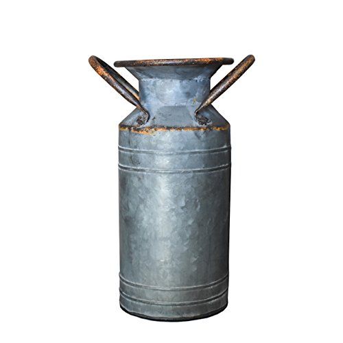 Old Fashioned Rustic Style Large Galvanized Milk Can Farmhouse Planter Vase with - Garden Milk Jug