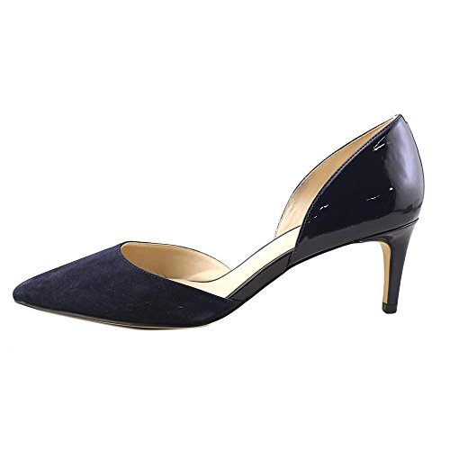 free shipping professional finishline for sale Nine West Women's Solis Patent Dress Pump Navy Patent Pu/Navy Suede clearance nicekicks outlet with paypal cheap big discount swGKR