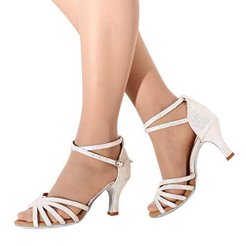 Veodhekai Women Waltz Modern Dance Sandals Ballroom Latin Dance Shoes Sequin Peep Toe Mid Heeled Soft Bottom Sandals White (1/2 Inch High Heeled 6)