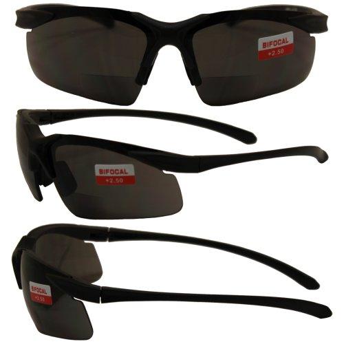 Apex Bifocal Safety Glasses UV400 Magnifying Reading Eyewear 2.50 Magnifier Smoke - Glasses Safety Uv400