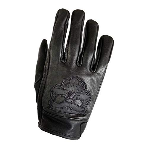 Large Xelement XS-7789 Mens Black Cowhide Leather Gloves with Reflective Skull Embroidery