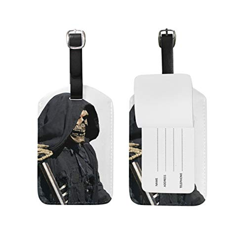 Leather Travel Luggage Tags Death Skull Zombie Emo Handbag Card Labels Set ID Accessories Men Women (2pcs)