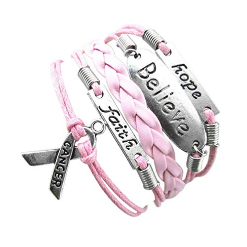 - andy cool Premium Quality Infinity Hope Faith Breast Cancer Awareness Sign Charm Multi Layers Bracelet