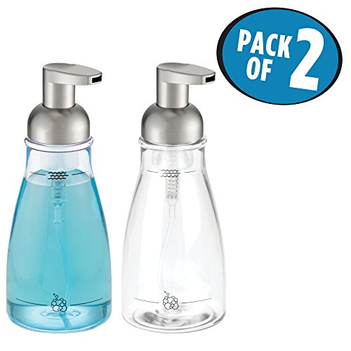 mDesign Foaming Soap Dispenser Pump Bottle for Bathroom Vanities or Kitchen Sink, Countertops, Holds 14 oz. Liquid Hand Soap - Pack of 2, Clear/Brushed Nickel