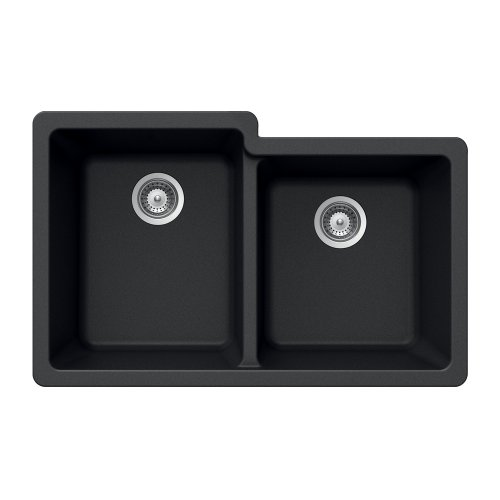 Houzer MADISON N-175U Onyx Madison Series Undermount Granite Double Bowl Kitchen Sink, Onyx