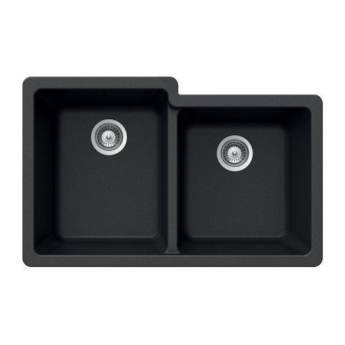 Houzer MADISON N-175U Onyx Madison Series Undermount Granite Double Bowl Kitchen Sink, Onyx