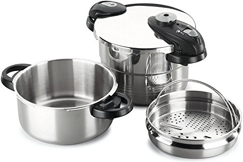 Fagor 918012991 Future IN 4 and 6 liters stainless steel Induction pressure cooker (3in1 sieve insert for steam cooking, as a drainer and a multi-grater, inductive, 22cm) silver by Fagor