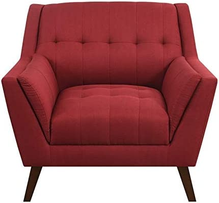 Emerald Home Binetti Brick Red Accent Chair with Deep Tufting