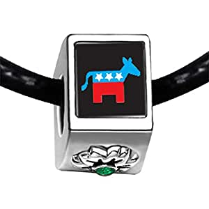 Chicforest Silver Plated Democrat Donkey On Black Photo Emerald Green Crystal May Birthstone Flower Charm Beads Fits Pandora Bracelet