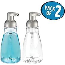 mDesign Foaming Soap Dispenser Pump Bottle for Bathroom Vanities or Kitchen Sink, Countertops, Holds 14 oz. Liquid Hand Soap - Pack of 2, Clear/Brushed Nickel