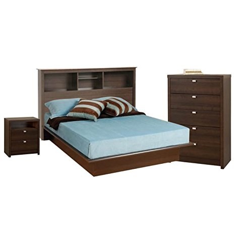 4 Piece Bedroom Set with Nightstand, Headboard, Full Platform Bed, and Chest in Espresso