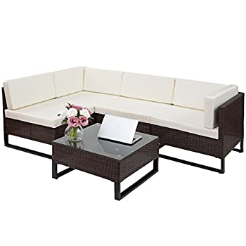 Merax 5 PC Indoor/Outdoor Wicker Sofa Cushioned Seating Sectional Set Garden