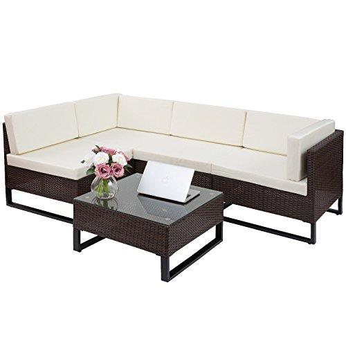 Merax 5 pc indoor outdoor wicker sofa cushioned seating for Indoor outdoor sectional sofa