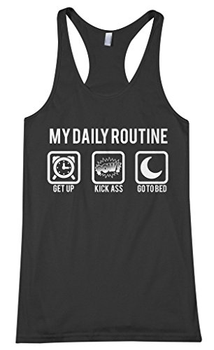 Threadrock Women's My Daily Routine Racerback Tank Top M Black (Best Bicep Routine For Size)