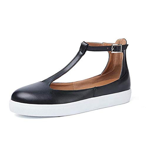 KARKEIN Womens Mary Jane Flats Shoes T Strap Sneakers Casual Round Toe Loafers Buckle Leather Sandals - Womens Mary Janes Journey