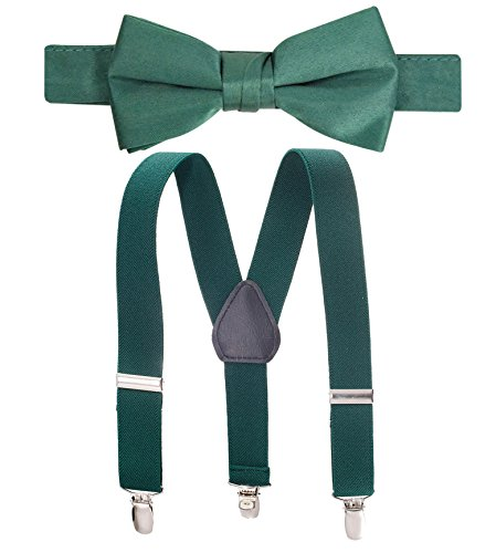 """Hold'Em Suspender and Bow Tie Set for Kids, Boys, and Baby - Proudly Made in USA - Extra Sturdy Polished Silver Metal Clips, Pre tied Bow Tie-Hunter 22"""""""