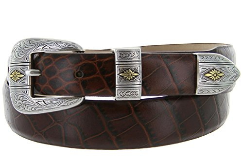 Mesa Gold - Men's Italian Calfskin Designer Dress Golf Belt with Western (Designer Style Belt Buckle)