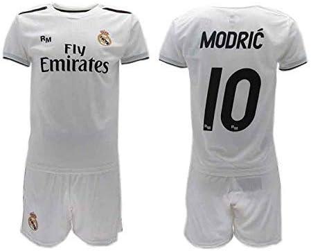 Conjunto Fútbol Luka Modric 10 Real MADRIC C.F. Blancos Temporada 2018-2019  Replica Oficial con Licencia - Caja de Regalo Camiseta + Pantalón Corto 0a19ddda06dde