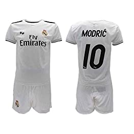 Officiel Kit de Football Luka Modric 10 Real Madrid C.F. Blancos Home 2018-2019 Replica Officiel avec Licence - Coffret Cadeau Maillot + Pantalon