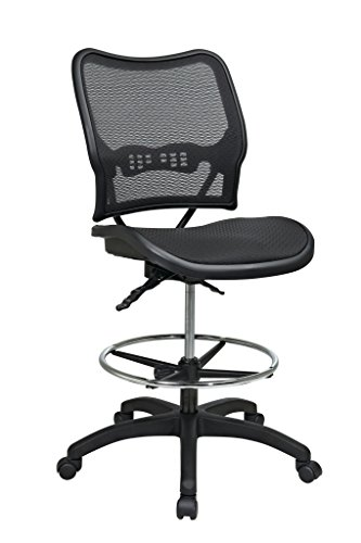 Space Seating Deluxe AirGrid Seat and Back with Dual-Function Control, Adjustable Footring and Nylon Base Drafting Chair, (Air Grid Mesh Chair)